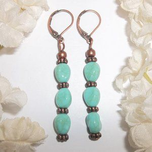 Long Turquoise Blue & Copper Earrings NWT 5821